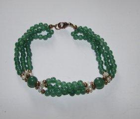 Green Jade Jadeite Beaded Bracelet