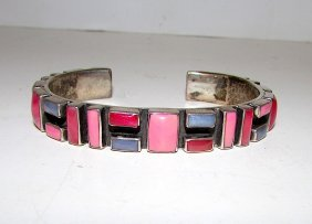 Southwestern Sterling Silver Coral Spiny Oyster Inlay