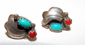 Old Pawn Navajo Sterling Turquoise Coral Earrings