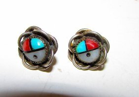 Old Pawn Zuni Sterling Sunface Earrings