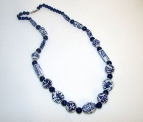 Chinese White And Blue Porcelain Beads Necklace