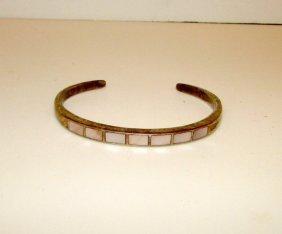 Native American Zuni Old Pawn Sterling Mop Bracelet