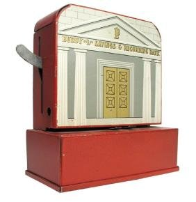 Image result for hand crank toy savings bank