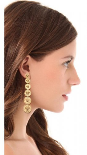 New Versace Medusa Gold Plated Pierced Earrings