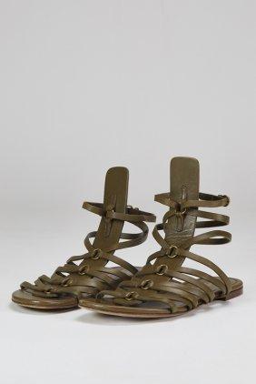 Ysl Yves Saint Laurent Green Gladiator Sandals (5)