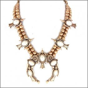 Dramatic Champagne Bead Squash Blossom Navajo Necklace
