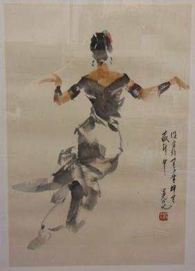 Chinese Watercolor Of Dancer, Signed Yang Zhiguang