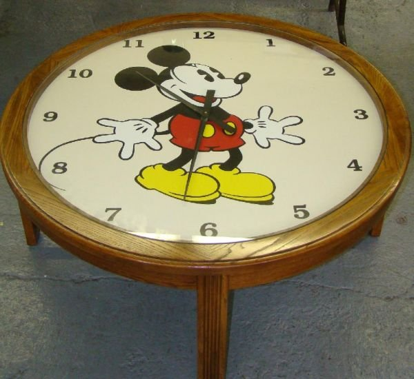 1709 Mickey Mouse Clock Coffee Table Lot 1709