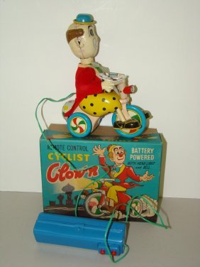 BOXED BATTERY OPERATED R/C CYCLIST CLOWN