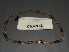 Chanel Gilt Chain Belt. With 'chanel' Dog Tags.