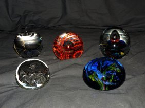 Lot Of Five Paperweights.