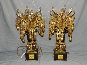 Pair Of Gilt & Bangled Electrified Lamps
