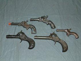 (5) Vintage Miniature Cast Iron Toy Cap Guns