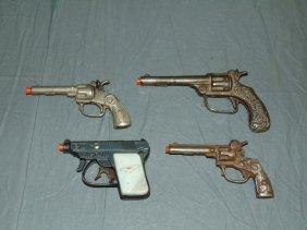 (4) Vintage Cast Iron Toy Cap Guns, Kenton/kilgore