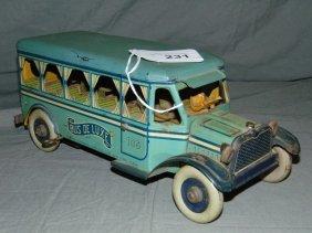 Tin Litho Windup Strauss Bus De Luxe