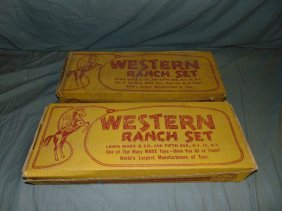 Lot Of 2 Boxed, Marx Western Ranch Playsets