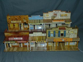Lot Of 2 Marx Tin Litho Western Town Playsets