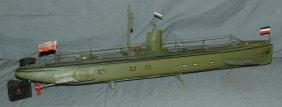 "Tin Clockwork Marklin Submarine, 31"" Long"