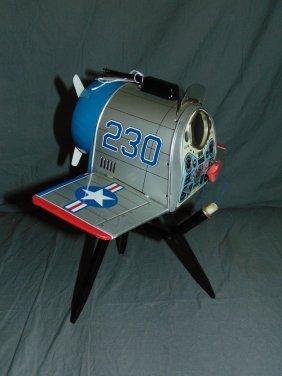 Tin Litho Battery Op Interceptor Fighter Plane Toy