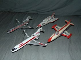 Lot Of Tin Litho Friction Airplanes