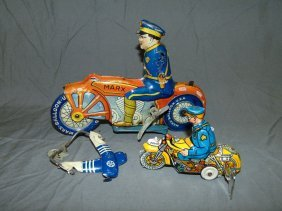 Lot Of 2 Tin Lithographed Motorcycle Toys