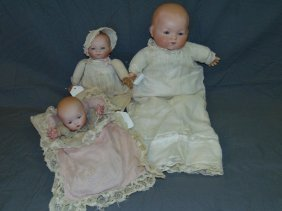 Lot Of 3 Bisque Head Bye-lo Baby Dolls