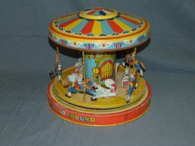 Tin Litho Windup Chein Playland Merry Go Round