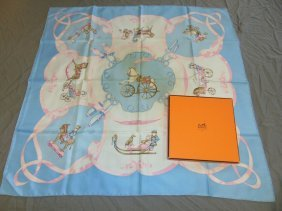 "Hermes Silk Scarf.""les Jourts Mobiles""+box."