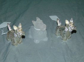 Christolfe And Daum Dogs. Lot Of 3.