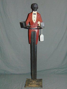Figural Cast Iron Black Butler Smoking Stand