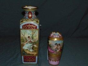 2 Piece Porcelain Vase Lot, Royal Vienna/dresden