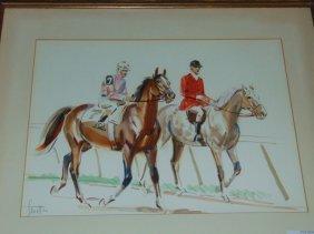 Sam Savitt (1917 - 2000), Equestrian Watercolor