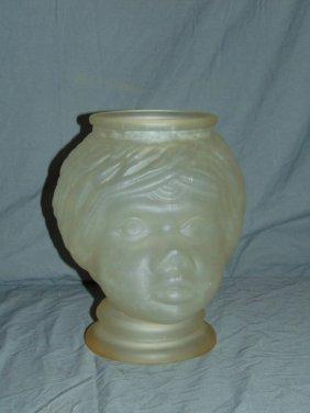 Black Americana Figural Clear Glass Vase