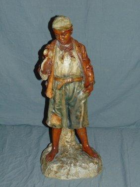 Ceramic Blackamoor Statue, Boy Holding Pipe