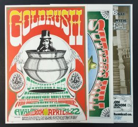 (3) Rick Griffin Fd Concert Posters Fd56, 58, 62