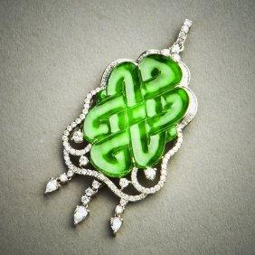 A Jadeite Jade Pendant With Platinum, Gia