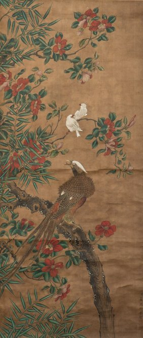 A Chinese Scroll Painting Of Floral And Avian Motif