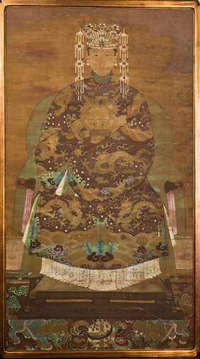 A Chinese Scroll Painting Of Imperial Portrait