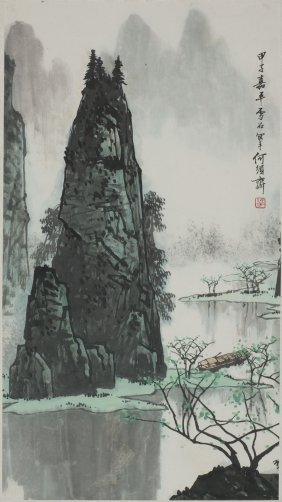 A Chinese Painting Of Riverside Landscape Motif, After