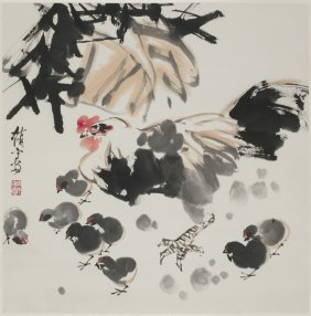 A Chinese Scroll Painting Of Rooster Motif, After Zhao
