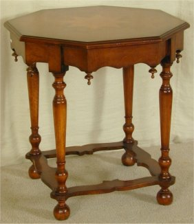 MAHOGANY OCTAGONAL TABLE W/STAR INLAY 2