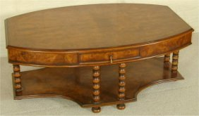MAHOGANY SHAPED 2 TIER COFFEE TABLE W/B