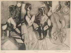 """Georges Lambert (french 1919-1998) An Etching, """"jazz,"""""""