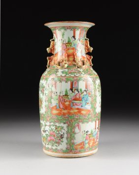 A Chinese Export Rose Medallion Porcelain Vase, Late