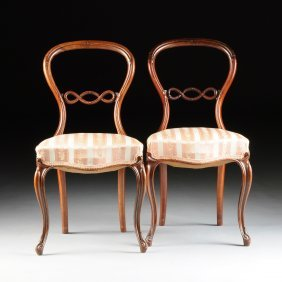 A Pair Of Victorian Balloon Back Carved Rosewood