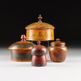 A Group Of Four Sino Tibetan Polychrome Painted Carved