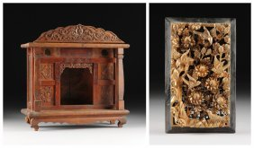 A Chinese Carved Wood Household Shrine And A Parcel