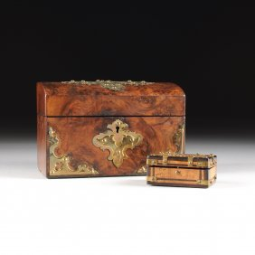 Two Victorian Brass Mounted Burlwood Boxes, One By