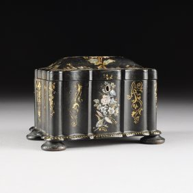 A Victorian Mother-of-pearl Inlaid Black Lacquer Tea