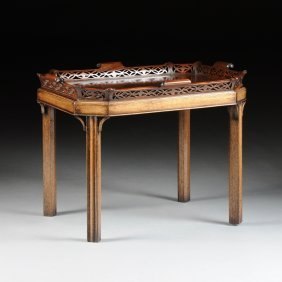 A George Iii Style Carved Mahogany Tray Table, Circa